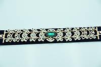 Золотистый браслет с зелёным камнем. Царские аксессуары оптом для женщин. 900
