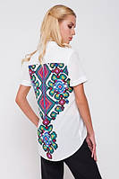 Рубашка женская белая с рисунком на спине, фото 1