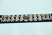 Золотистый браслет с красным камнем. Нарядные украшения от Бижутерии оптом RRR. 901