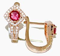 Серьги ХР позолота с красным оттенком. Камень:розовый циркон и белые фианиты,высота серьги 2 см. ширина 10 мм.