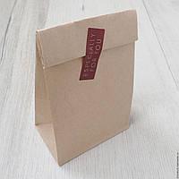 Пакет на вынос макси 380х320х150 мм., крафт бурый, 80 г/м2, прям. дно , фото 1