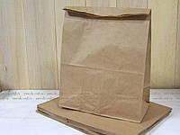 Пакет на вынос 380х320х150 мм., крафт бурый, 90 г/м2, прям. дно