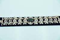 Роскошный браслет с чёрным кристаллом. Нарядная бижутерия оптом недорого. 904
