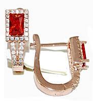 Серьги ХР позолота с красным оттенком. Камень:красный циркон и белые фианиты,высота серьги 2см. ширина 6 мм.