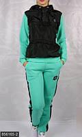 Женский спортивный костюм со свободной кофтой и брюками плащевка на флисе трехнить с начесом батал Турция