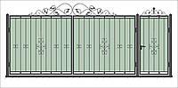 Кованные ворота с калиткой 3450х1900 (модель В-01), бесплатная доставка по Украине