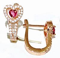 Серьги ХР позолота с красным оттенком. Камень:розовый циркон и белые фианиты,высота серьги 2см. ширина 10 мм.