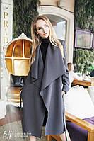 Стильное кашемировое пальто на осень с отложным воротником, на поясе, серое