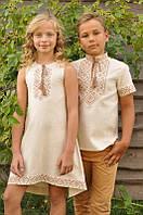 Парні дитячі вишиванки сукня та сорочка молочні
