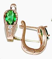 Серьги ХР позолота с красным оттенком.Камень:зелёный циркон и фианиты,высота серьги 1,7см. ширина 6 мм.