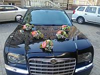 Аренда украшений на свадебный автомобиль в нежно ванильно розовых тоннах (19)