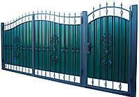 Кованные ворота с калиткой 3450х2150 (модель ВД-02), бесплатная доставка по Украине