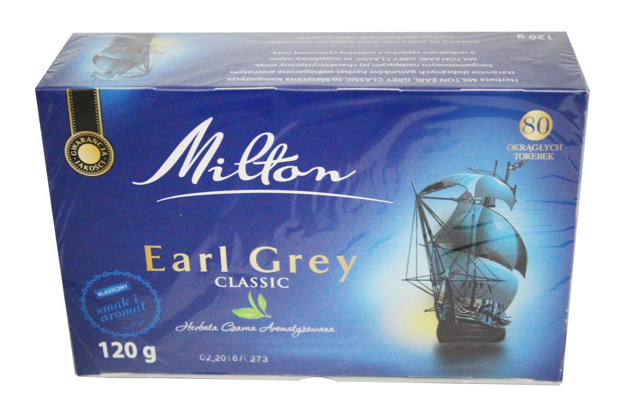 Чай Milton Earl Grey classic с бергамотом 80 пакетиков