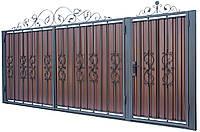 Кованные ворота с калиткой 3450х1900 (модель В-03), бесплатная доставка по Украине