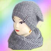Комплект женский шапка + хомут Люрекс, флис