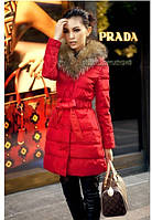 Женская куртка-плащ до колен с воротником, красного цвета ХЛ
