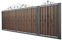 Кованные ворота с калиткой 3450х1900 (модель В-04), бесплатная доставка по Украине