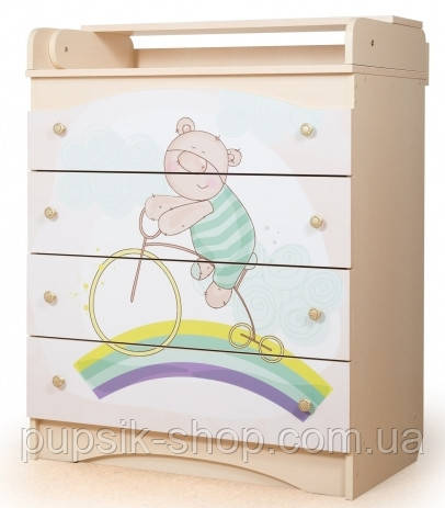 """Комод пеленатор Вальтер """"Мишка на радуге"""" цвет №2"""