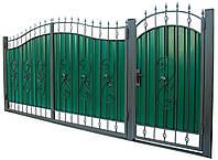 Кованные ворота с калиткой 3450х2150 (модель ВД-04), бесплатная доставка по Украине