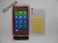 Чехол силиконовый Capdase Nokia XL + пленка розов