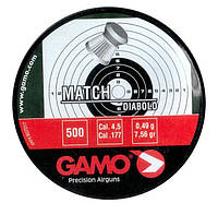 Пули Gamo Match 0,49г 500 шт 4,5 мм. Плоскоголовые пули, для пневматического оружия, Пули Gamo Match