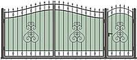 Кованные ворота с калиткой 3450х2150 (модель ВД-05), бесплатная доставка по Украине