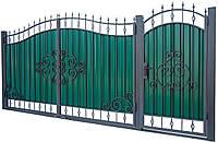 Кованные ворота с калиткой 3450х2150 (модель ВД-06), бесплатная доставка по Украине