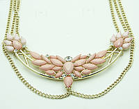 Ожерелье на шею из камней и цепочек под золото. Изящная бижутерия оптом в Украине. 502