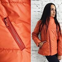 Стильная демисезонная женская куртка с отложным воротником на молнии, на синтепоне, цвет оранжевый