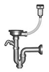 Сифон для мойки прямоточный с переливом и отводом для стиральной машины, выпуск 3½'', выход в канализацию Ø32/