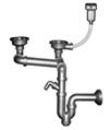 Двойной разноуровневый прямоточный сифон для мойки с переливом и отводом для стиральной машины, выпуски 3½'' и