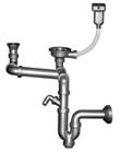 Двойной разноуровневый прямоточный сифон для мойки с переливом и отводом для стиральной машины, выпуски 3½'' +