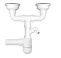 Двойной сифон для мойки с отводом для стиральной машины, выпуски 3½'' из нерж стали 304, выход в канализацию Ø