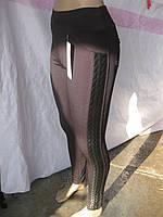 Женские лосины с колоском вставка ЭКО - кожа