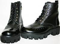 Ботинки осенние женские Olteya 14187 черные, натуральная кожа,  на тракторной подошве, шнуровка/молния, высоки