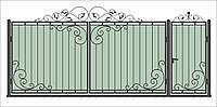Кованные ворота с калиткой 3450х1900 (модель В-08), бесплатная доставка по Украине