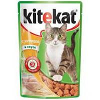 Китикет Kitekat пауч влажный корм для взрослых кошек курица в соусе, 100 г