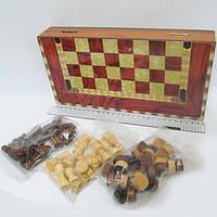 "Игра ""Шахматы, шашки, нарды 3 в 1"", деревянная коробка 30*15см."