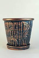 Горшок цветочный бамбук,бронза