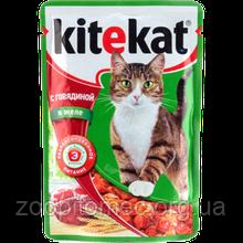 Вологий корм для кішок Kitekat (Кітікет) пауч яловичина в соусі, 100 г