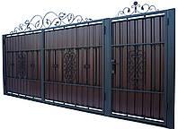 Кованные ворота с калиткой 3450х1900 (модель В-09), бесплатная доставка по Украине