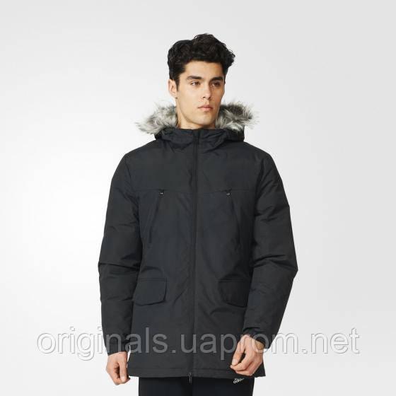 Зимняя куртка мужская с капюшоном Adidas Filled Fur-Trim AP9551 черная