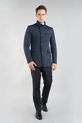 Темно-синяя демисезонная стеганая куртка
