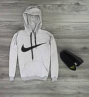 Теплая мужская спортивная кофта серого цвета