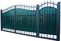 Кованные ворота с калиткой 3450х2150 (модель ВД-09), бесплатная доставка по Украине