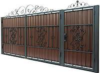 Кованные ворота с калиткой 3450х1900 (модель В-10), бесплатная доставка по Украине
