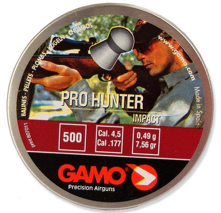 Пули Gamo Pro Hunter 0,49 500шт 4,5 мм. Пули для пневматического оружия. Пули Gamo Pro Hunter, фото 2