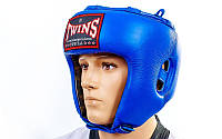 Шлем боксерский открытый Кожа TWINS синий