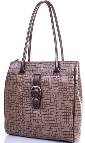 Кожаная элегантная женская сумка DESISAN (ДЕСИСАН) SHI7131-695 Коричневая