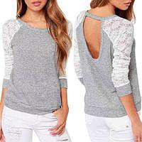 Женская блуза трикотаж с кружевными рукавами